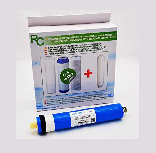 Filtros para Equipos de Osmosis inversa estandar + Membrana adaptable a casi todos los equipos de Osmosis inversa domestica.