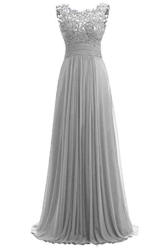 Carnivalprom Damen Chiffon Abendkleider Lange Elegant HochzeitsKleid Spitze Cocktailkleider(Silber,44)
