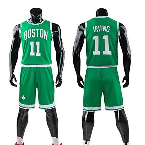 Niños Niños Niñas Camiseta De Baloncesto, NBA Boston Celtics # 11 Kyrie Irving Jerseys Camiseta De Verano Chaleco Deportivo Trajes Kits Top + Short 1 Juego (3XS-5XL),Verde,2XL(Adult)170~175CM