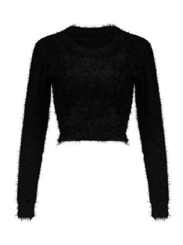 Joeoy Women's Black Fluffy Mohair Long Sleeve Crop Top Knit Sweater Jumper-S