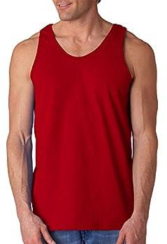 Gildan Men s Ultra Cotton Easy Fit Layered U-Neck Tank Top Cardinal Red 2XL