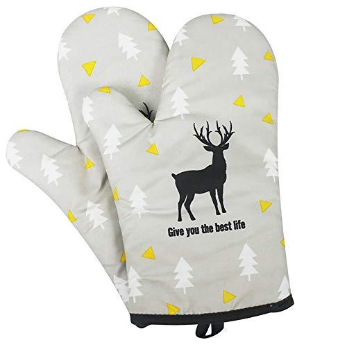 AniU Guantes de horno resistentes al calor, bonito estampado con lazo para colgar, guantes de horno suaves y duraderos, protección contra el calor para parrilla / cocinar / hornear, 1 par (ciervo)
