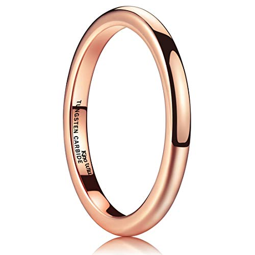 King Will Glory 2mm Rose Gold Thin Tungsten Ring Wedding Band High Polished For Men Women 9