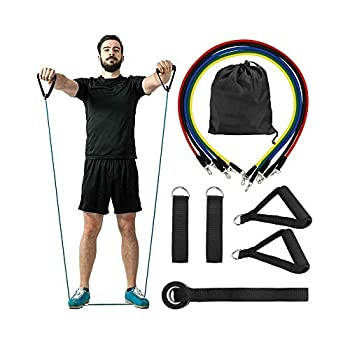FanBell 11 Pack Exercise Resistance Bands with Handles Set – Include 5 Stackable Exercise Bands with Handles Carry Bag Legs Ankle Straps & Door Anchor Attachment Exercise Stretch Fitness Home Set