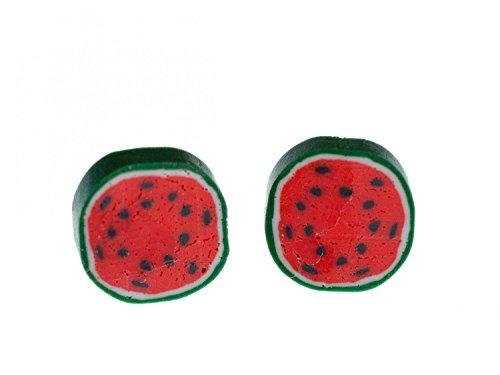 pendientes del perno prisionero del melón Miniblings pendientes de la sección transversal de la fruta de la sandía