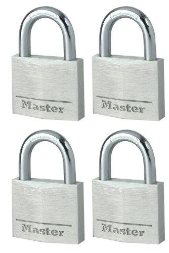 Master Lock 9140EURQNOP Lote de Candados para Bodegas, Plata, 40mm, Set de 4 Piezas