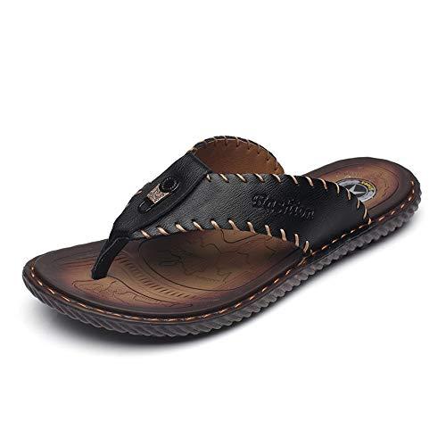 Sandalias Hombre Chancletas para Hombre Zapatillas de Playa Casual de Verano Zapatillas de Tanga Zapatillas con Forro de Zapatillas Slip On Leather Upper Flat Heel Cómodo