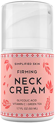 Neck Firming Cream for Sagging, Wrinkles & Tightening. Best Anti-Aging Chest & Decollete Moisturizer for Turkey Neck, Double Chin & Erase Crepe with Glycolic Acid & Vitamin C by Simplified Skin 1.7 oz