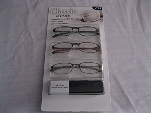 Reading Glasses +2.25 Clasics Collection Readers (Pack of 3 Pairs)