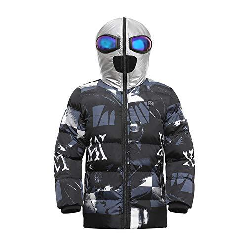 Kinderheizung Baumwollkleidung, Smart Heizung Kleidung Winter USB Ladeheizung Heizung Anti-Kalt Mittellange Dicke Heizjacke black-160