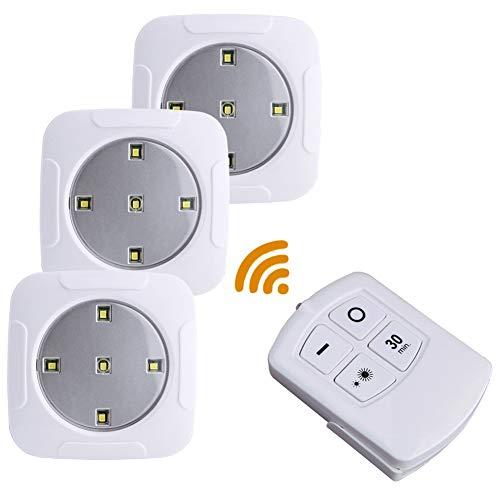 XHSHLID Led-wandlamp, draadloos, met afstandsbediening, werkt op batterijen, in de kast, nachtlampje, wandlamp, slaapkamerlamp, superhelder