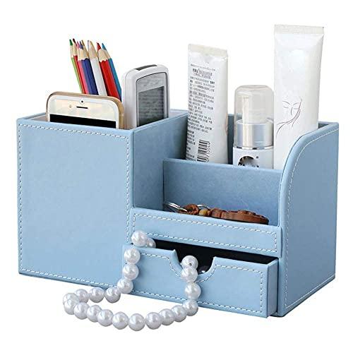 Guuisad Caja de Almacenamiento de Escritorio Multifuncional de Madera PU de Cuero Papelería Organizador Pluma Lápiz Caja de lápiz Funda (Negro) (Color : Blue)