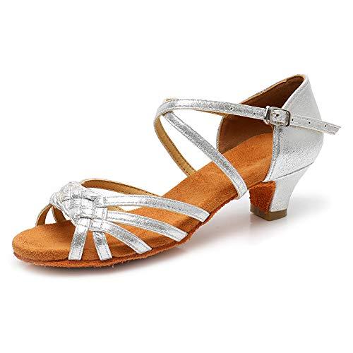 YKXLM Mujeres&Niña Zapatos Latinos de Baile Zapatillas de Baile de salón Salsa Tango Performance Calzado de Danza,ES-WH1208-XGG,Marrón,EU 28