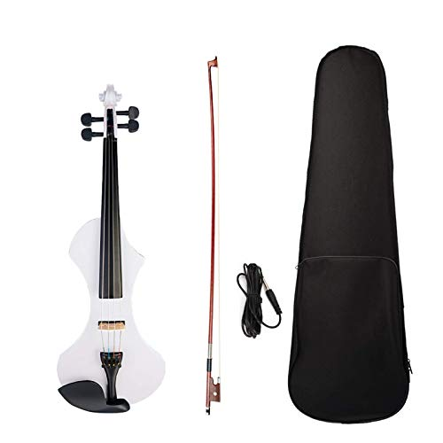 Cutaway GuitarElectric Violín de madera maciza, pastilla activa silenciosa de 6 colores, funda de violín de madera maciza (tamaño: pequeño; color: blanco)