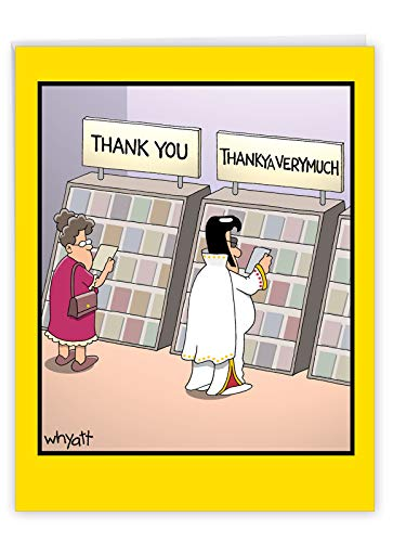 NobleWorks, ThankYa - Jumbo Funny Thank You Card (8.5 x 11 Inch) - Hilarious Elvis Notecard, Cartoon Gratitude Message J3757