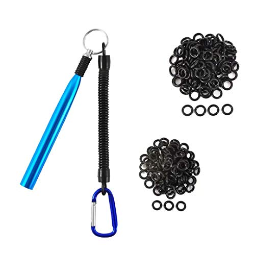 Fishfun Wacky Rig Tool with 200Pcs Worm Wacky O Rings for 3'-7' Plastic Senko. Easy Installation and Great Protection of Your Plastic Worms