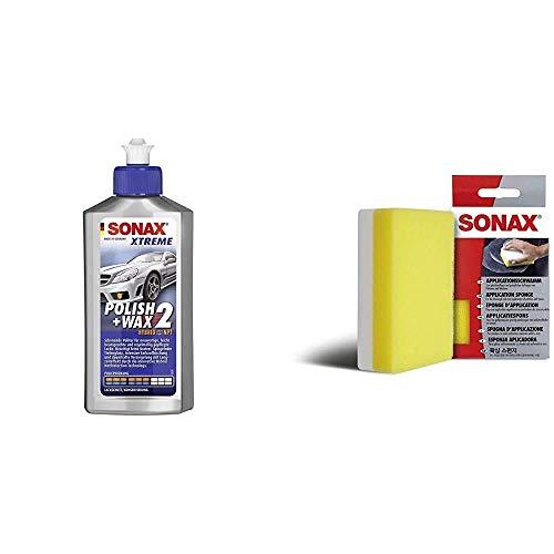 SONAX Xtreme Polish+Wax 2 Hybrid NPT (250 ml) schonende Politur & ApplikationsSchwamm (1 Stück) zum Auftragen und Verarbeiten von Polituren, Wachsen, Kunststoffpflegemitteln etc.