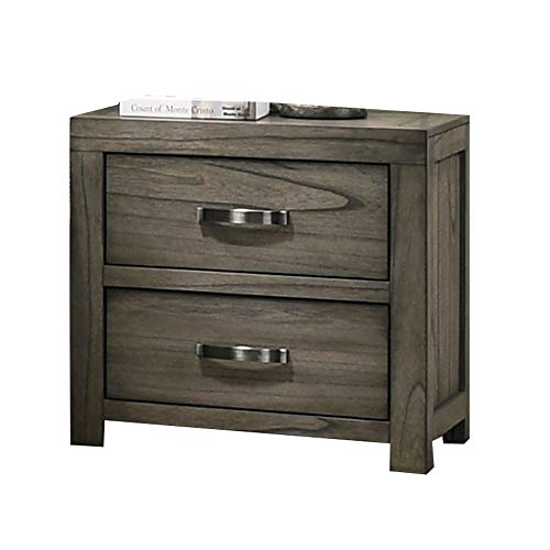 Sale!! Benjara 2 Drawer Wooden Nightstand with Grain Details and Block Legs, Brown