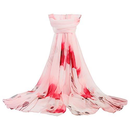 Damen-Schal, Seide, länglich, Blumenmuster, Übergröße, weich - Rot - Aufmaß