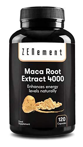 Maca Andina, altamente concentrada 4000mg, 120 cápsulas | Mejora los niveles de energía, resistencia, rendimiento atlético, memoria, libido, sistema inmunitario y equilibrio hormonal | 100{bc9479247b11aae9d28e86604fbeb6e03afd647f63b63b0a281eb0917e0b39b5} Natural