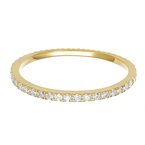 PAVOI AAAAA CZ 14K YELLOW GOLD Plated Silver Cubic Zirconia Stackable Eternity Ring - Size 9