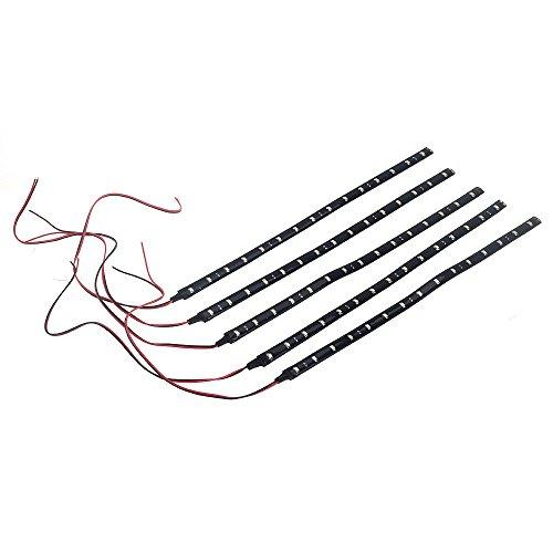 SODIAL(R) 5 x 30 CM bande de barre impermeable A l'eau 15 LED 3528 SMD Or blanc DC12V Auto
