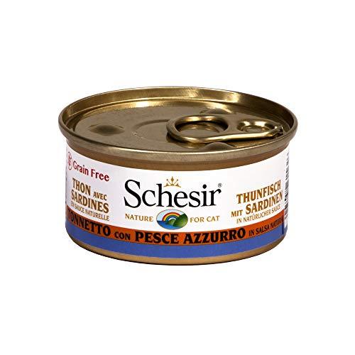 Schesir Cat Sauce Thunvis met Sardinen, kattenvoer nat in sauzen, 24 blikjes x 70 g, 1,68 kg