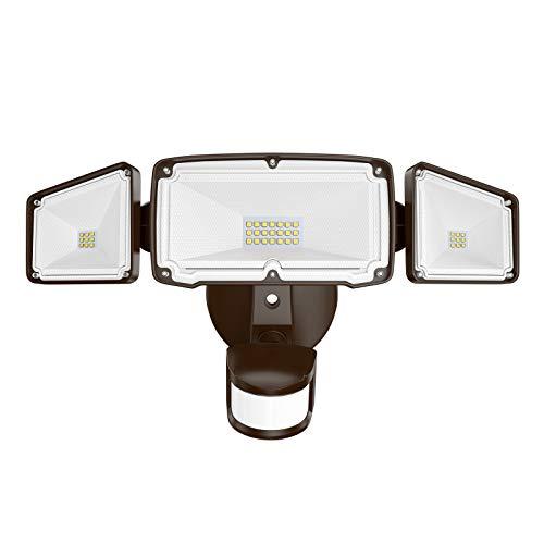 Amico 3 Head LED Security Lights with Motion Sensor, Adjustable 40W, 4000LM, 5000K, IP65 Waterproof, Exterior Flood Light for Garage, Yard(Brown)