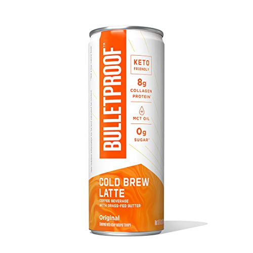 Bulletproof Original Cold Brew Coffee Plus Collagen Protein, Keto Friendly with Brain Octane C8 MCT Oil and Grass Fed Butter, Sugar Free, Original, 12 Pack