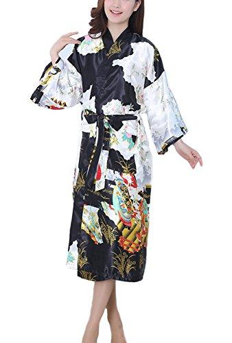 DELEY Mujeres Kimono Satén Seda Elegantes Suaves Batas de Baño Ropa de Dormir Albornoces Camisón Pijamas Peignoir Negro Tamaño M