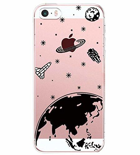 Alsoar Compatibile/Sostituzione per iPhone SE Cover Clear iPhone 5 iPhone 5S Custodia Summer Panda Drink Transparente Silicone Cover TPU Gel Protettivo Anti-Scratch Non-Slip Skin Shell (Planet)