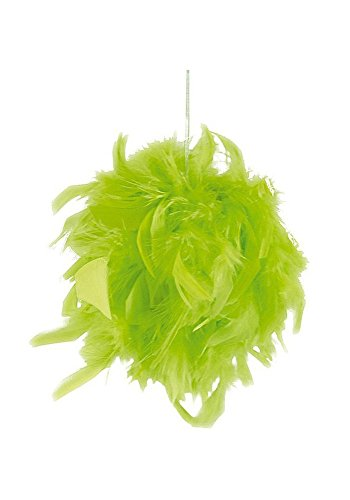 Suspension boule en plumes fête 10 cm (vert)