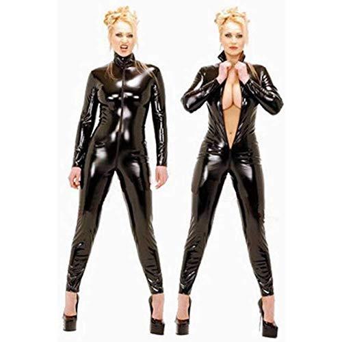 Erotik Leder Lackleder Verbunden KöRper KöNigin Kleid Offene Lederanzug Nachtclub Leistung Einheitliche Versuchung Pole Dance Kleidung GrößE S-2XL (XL)