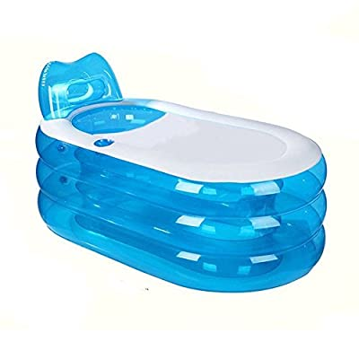 Portable Folding Inflatable Bathtub 145cm Blowup Adult Spa Pool Suitable for Children Kid,Baby,Old man Shower Inflatable Pool Bathroom Home SPA (Fully Inflated 57x31x26 Inches)