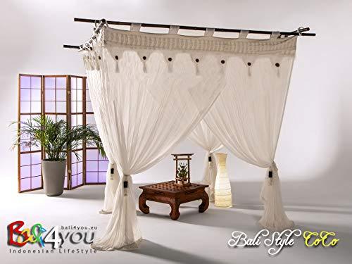 Bali Baldachin Bali Style Coco 200x200 Moskitonetz 100% Cotton inkl. 4 Bambus Quasten