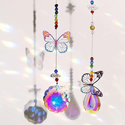 ALTcompluser 2 atrapasoles, mariposas, bolas de cristal, prisma, ventanas, multicolor, decoración para...