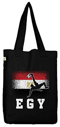 ShirtStreet Ägypten Fußball WM Fanfest Gruppen Fan Bio Baumwoll Jutebeutel Stoffbeutel Egypt Football Player, Größe: onesize,Black