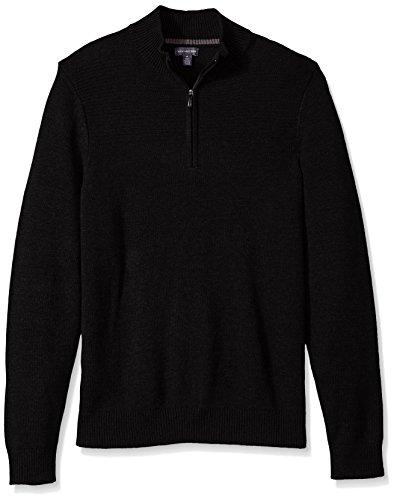 Van Heusen Men's 1/4-Zip Solid Sweater, Black, Medium