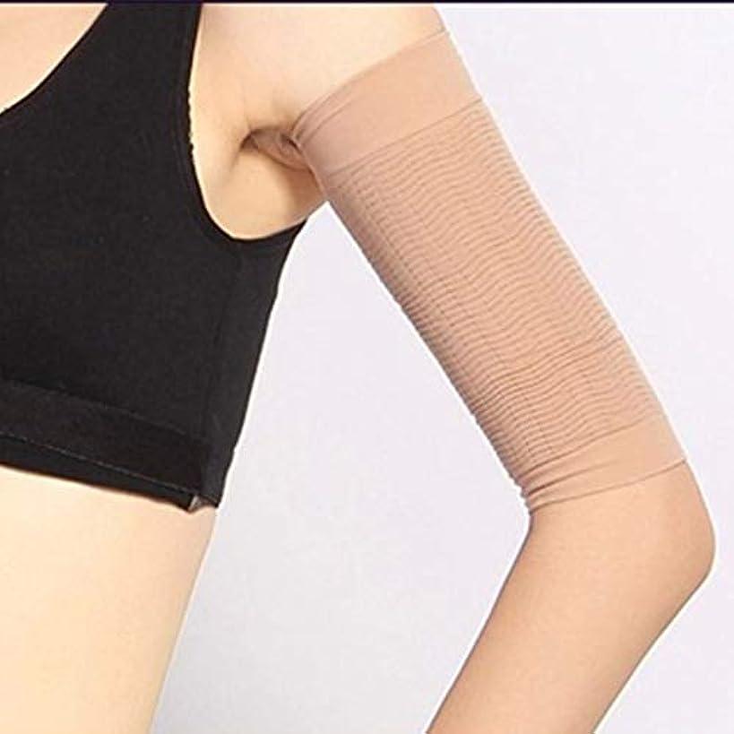 いつ酸っぱい資格1ペア420 D圧縮痩身アームスリーブワークアウトトーニングバーンセルライトシェイパー脂肪燃焼袖用女性 - 肌色
