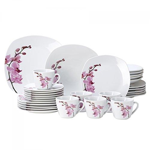 Van Well Kombiservice Kyoto 30-TLG. für 6 Personen, Tafel-Geschirr + Kaffee-Service, edles Porzellan-Geschirr, Blumen-Dekor Orchidee, rosa-rot, pink
