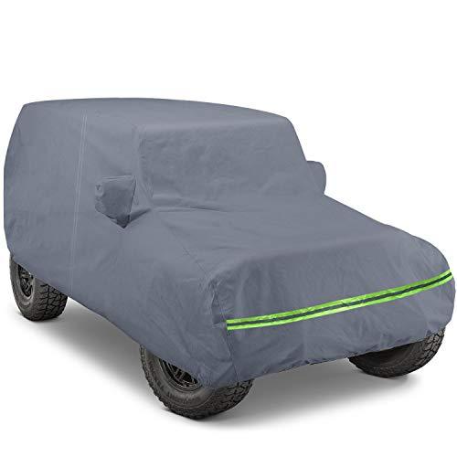 KAKIT 6 Layers Covers for Jeep 2007-2020 4 Door Customer Fit Waterproof All Cotton Inside with Windproof Strap & Driver Door Zipper