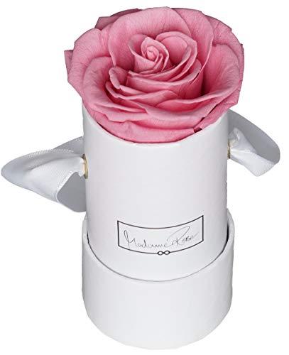 MadameRose Rosenbox rund mit 1 konservierten rosa Rose in weißer Hutschachtel als Geschenk und Deko, Größe S