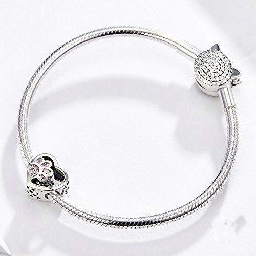 Pzpgeq Pulsera de Plata esterlina S925 con Estampado de Pata de Mascota en Forma de corazón, con Incrustaciones de Diamantes Rosas. Pulsera de Bricolaje, joyería de Plata perlada