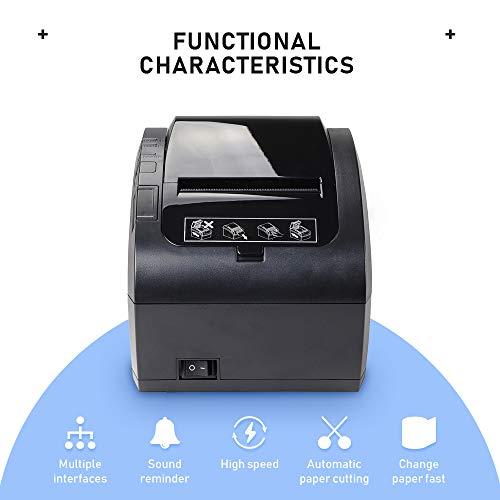 MUNBYN Impresora de Ticket Térmica WiFi, Impresora de Recibos 80mm, Ticketera Velocidad 300mm/s ESC/POS Compatible con Mac/Android/Windows, Negra