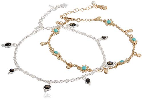 Lucky Brand Jewelry Turq & Abalone Anklet, Two Tone, One Size