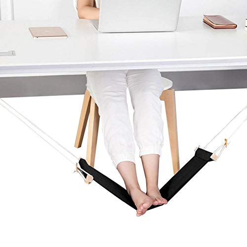 Ducomi Put Your Feet Up Mini-hangmat voor tafel- en bureaupoten met comfort en stijl - verstelbare voetensteun, ideaal voor kantoor, huis en tuin (65 x 15 cm) Zwart