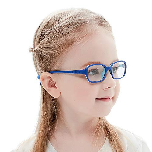 Kids Glasses Frame Flexible Smart Looks Cute Eyewear Frame with Clear Square Lens for Boys Girls(Age 2-5) (Wk11c7 Blue)