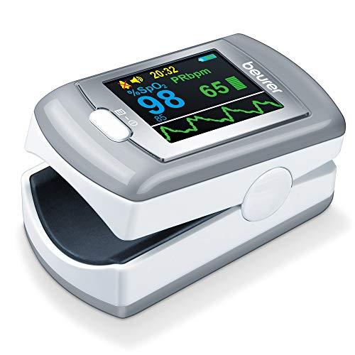 """Beurer PO 80 Pulsoximeter, Messung von Sauerstoffsättigung (SpO₂) und Herzfrequenz (Puls), 24h kontinuierliche Aufzeichnung, Software """"beurer SpO₂ Assistant"""", Alarmfunktion"""