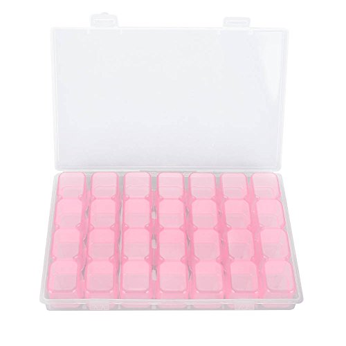 Nail Art Boite Rangement, 28 Grilles Boîte de Stockage Petite Boite Plastique Transparent Diamants Painting de Nail Accessoires Récipient de Stockage Organiseur Rose