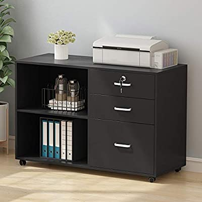 Tribesigns 3 Drawer Wood File Cabinets with Lock, Large Modern Lateral Mobile Filing Cabinets Printer Stand with Wheels, Open Storage Shelves for Home
